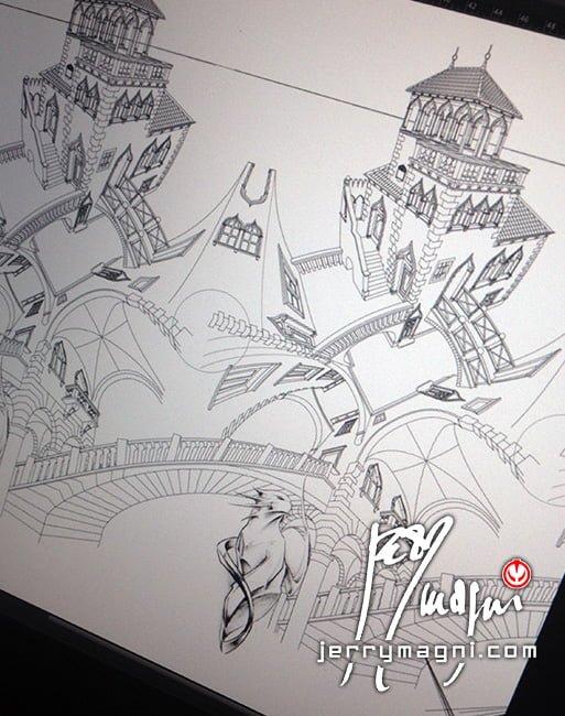 disegno vettoriale eseguito con Macromedia Freehand da Jerry Magni, su base dello schizzo di M. C. Escher, per il progetto UP & DOWN, manica tatuata.