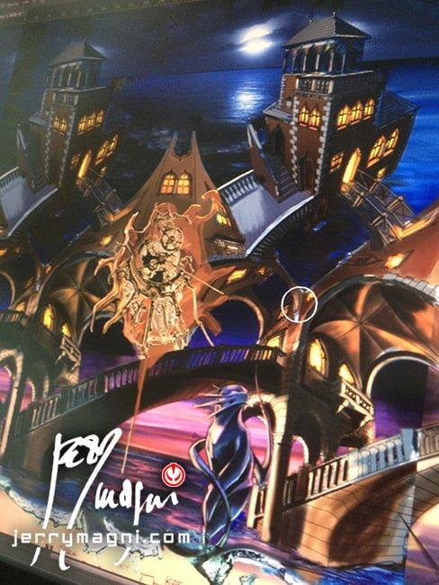Colorazione digitale di disegno vettoriale per tatuaggio a colori a tutta manica a soggetto architettonico ispirato all'opera omonima di M. C. Escher. Ambientazione Veneziana, con gatto nel tipico stile di Jerry Magni. Tattoo Artist, Bergamo, tatuatore, Milano, Brescia, migliore, Crema, Lombardia, provincia, Lecco, Como, Lugano,