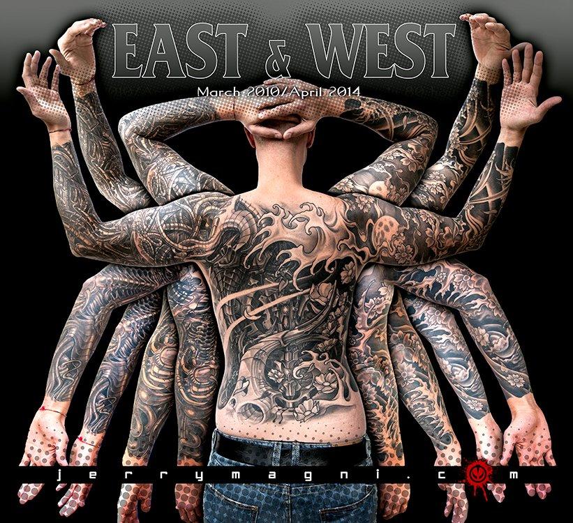 Black and grey biomech and Japanese jacket tattoo, mechanical parts, waves and cherry flowers. Jerry Magni tattoo artist Bergamo, Brescia, Milano, provincia, Lugano.