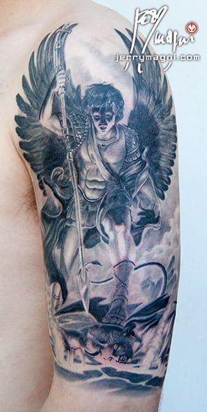 Saint Michael Archangel Black and Grey Tattoo. Jerry Magni Italy