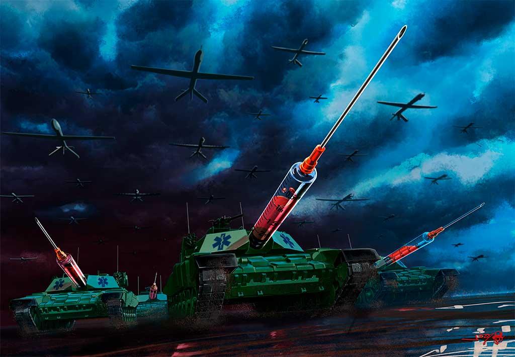 illustrazione a colori con carri armati e droni realizzato da uno dei migliori tatuatori e illustratori italiani. Jerry Magni