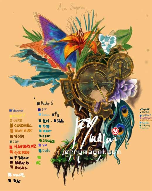 Disegno per Mezza manica tatuata a colori. Orologio, radici, fiori, ali di farfalla, occhio, piume di pavone, cavaliere, porta. Jerry Magni Tattoo Artist