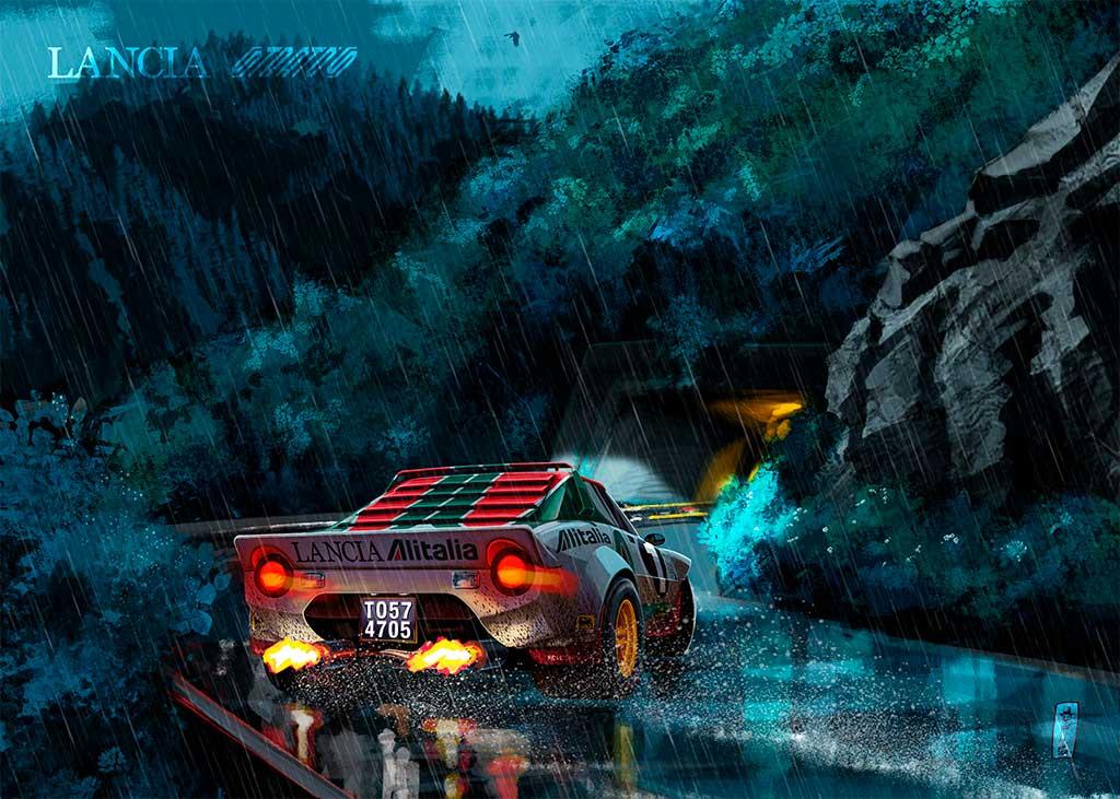illustrazione realistica della Lancia Stratos in testa coda su strada bagnata prima di entrare in un tunnel. creazione di uno dei migliori illustratori italiani, Jerry Magni