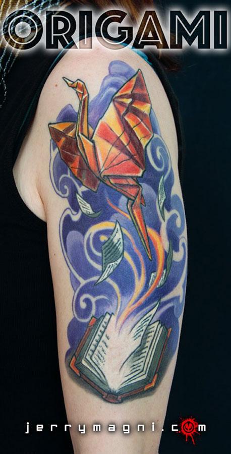 Origami phoenix tattoo. Jerry Magni. Italy