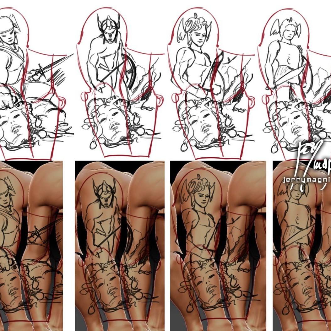Bozze per Tatuaggio bianco e nero a tutta manica, Perseo ha appena tagliato la testa a Medusa che ci rivolge il suo ultimo sguardo. Perseo indossa una scintillante armatura e un elmo che gli copre lo sguardo, in una mano tiene la spada con l'altra raccoglie la testa di Medusa. Dietro di loro giace il corpo esamine di Medusa e sullo sfondo Andromeda è incatenata all'ingresso della grotta della gorgone. Fenomenale lavoro artistico di Jerry Magni, uno dei migliori tatuatori italiani in circolazione. Milano, Bergamo, provincia, Lugano,
