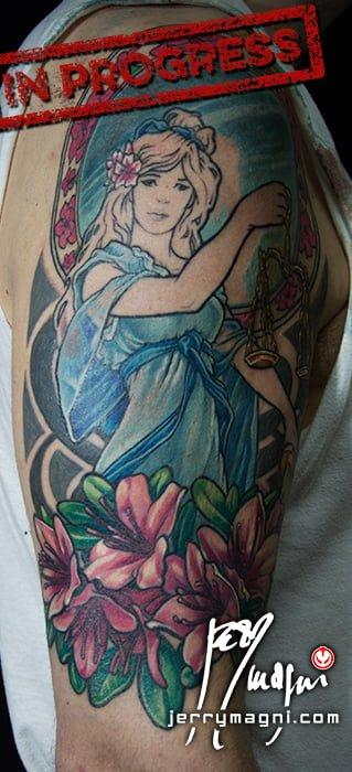Third sitting tattoo about Dike, justice goddess in the Roman Greek mythology, scale, ancient gods, pagan goddess, Mucha, flowers, mirror. Jerry Magni tattoo Artist Milan, Bergamo, Italy, Lugano