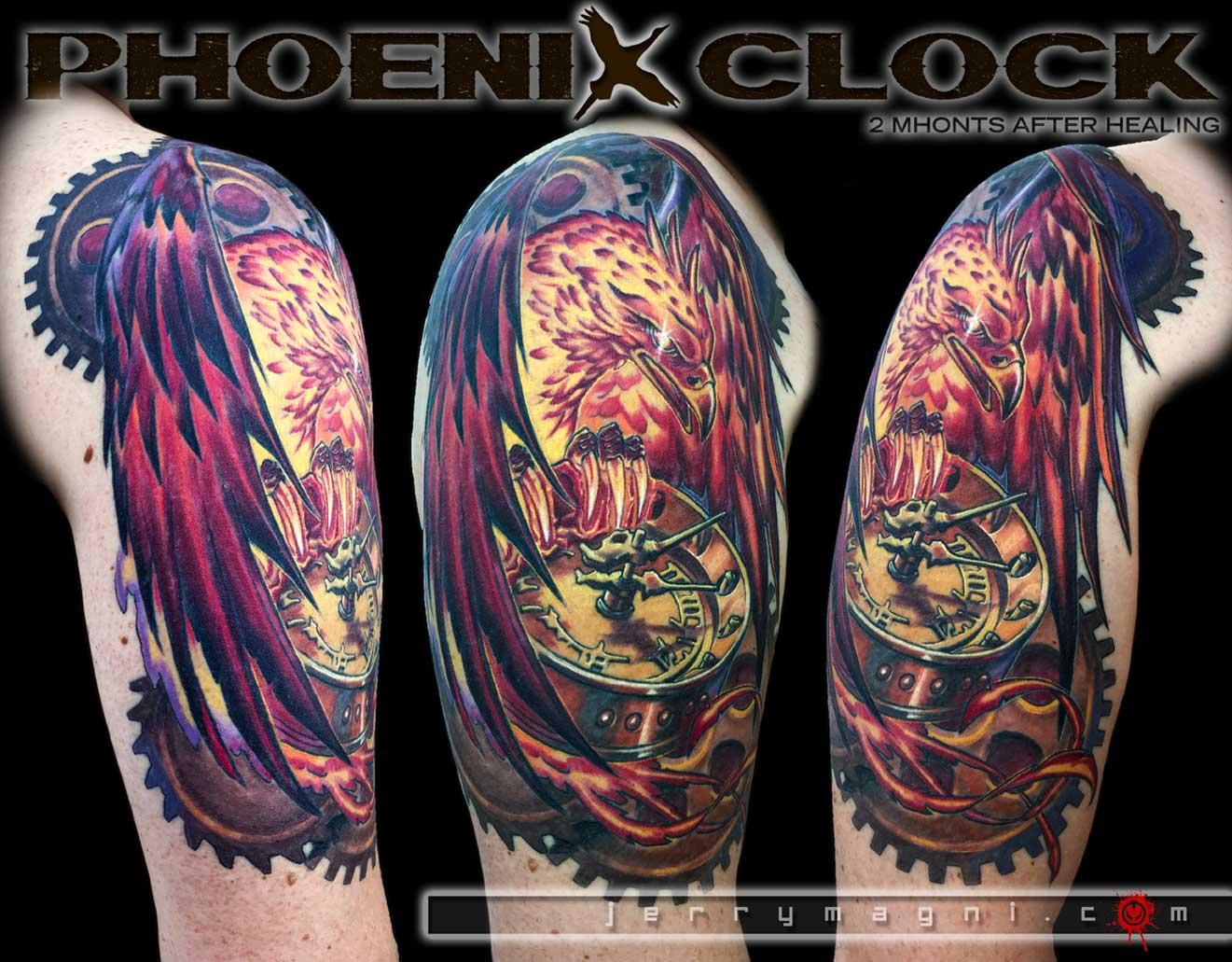 Phoenix On The Clock Jery Magni Tatuatore Bergamo