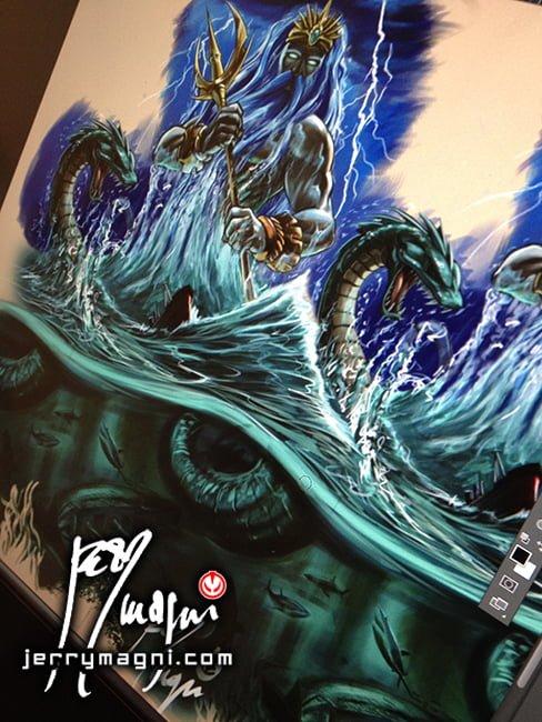 Digital painting for a full color tattoo sleeve, Poseidon, Hydra, sharks, sea, storm, under the sea, boat, sea snake, illustration, ancient gods, Jerry Magni Tattoo Artist, Bergamo, Milano, Italy