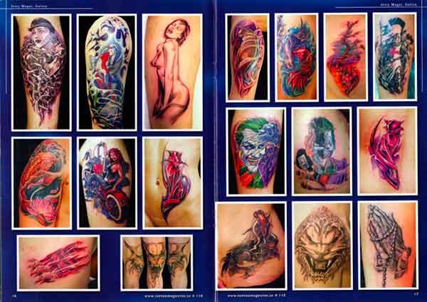 pages from scandinavian tattoo magazine featuring Jerry Magni best Italian tattoo artist Bergamo, Milano, Lugano, Lecco, Como, Brescia