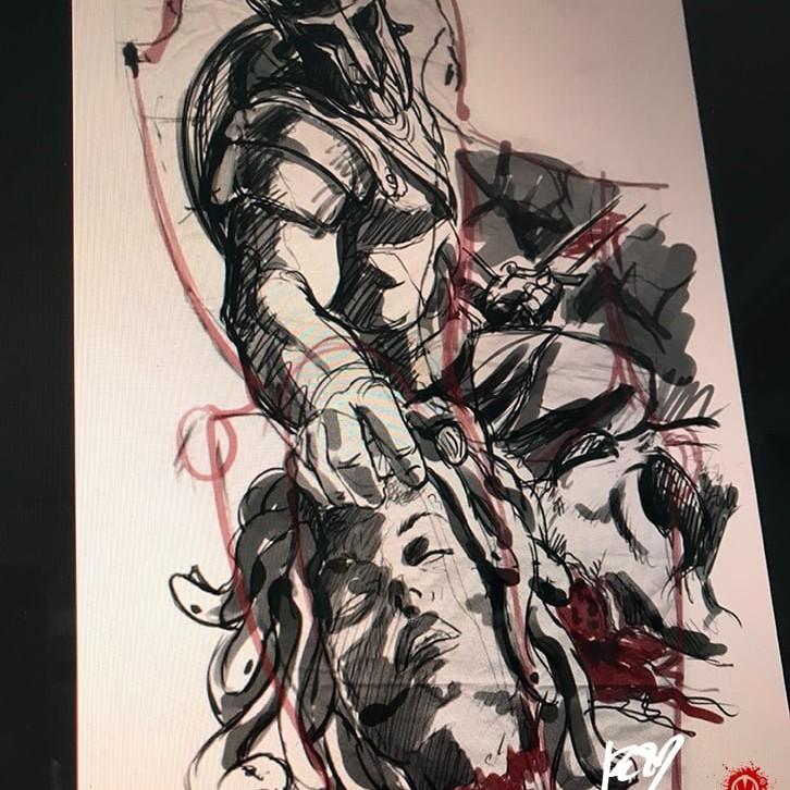 Studio compositivo per Tatuaggio bianco e nero a tutta manica, Perseo ha appena tagliato la testa a Medusa che ci rivolge il suo ultimo sguardo. Perseo indossa una scintillante armatura e un elmo che gli copre lo sguardo, in una mano tiene la spada con l'altra raccoglie la testa di Medusa. Dietro di loro giace il corpo esamine di Medusa e sullo sfondo Andromeda è incatenata all'ingresso della grotta della gorgone. Fenomenale lavoro artistico di Jerry Magni, uno dei migliori tatuatori italiani in circolazione. Milano, Bergamo, provincia, Lugano,