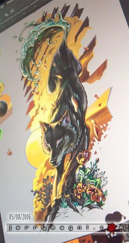 Disegno digitale per tatuaggio a colori. Lupo fuso con albero e onda d'acqua sulla coda, tramonto con frecce e nuvole, fiori,colori arancione, seppia, marrone, giallo. Jerry Magni Tattoo Artist. Bergamo, Milano, Brescia,